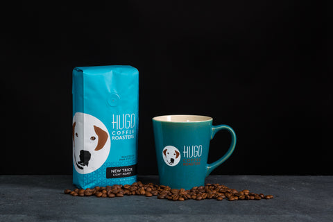 New Trick Light Roast Coffee and Mug at Hugo Coffee Benefiting Dogs