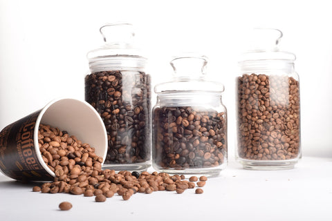 Coffee Beans in Glass Containers | Hugo Coffee Roasters in Park City Utah with tips for Coffee storage