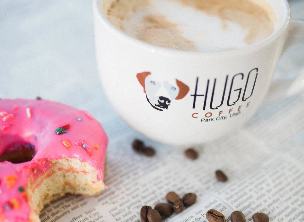 Hugo Coffee Roaster Mug and Donut Coffee Benefiting Dogs