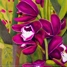 Load image into Gallery viewer, A painting, by fine artist Nancy McLennon, of dark purple orchids in a green garden background