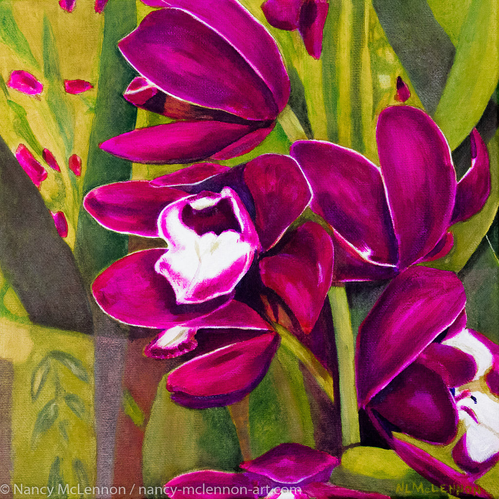 A painting, by fine artist Nancy McLennon, of dark purple orchids in a green garden background