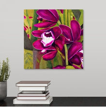 Load image into Gallery viewer, A painting, by fine artist Nancy McLennon, of dark purple orchids in a green garden background hanging over a desk