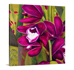 A side view painting of dark magenta orchids in full bloom, surrounded by a lush, vivid green garden backdrop