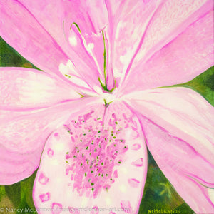 A painting, by fine artist Nancy McLennon, of light pink lily in a green garden background
