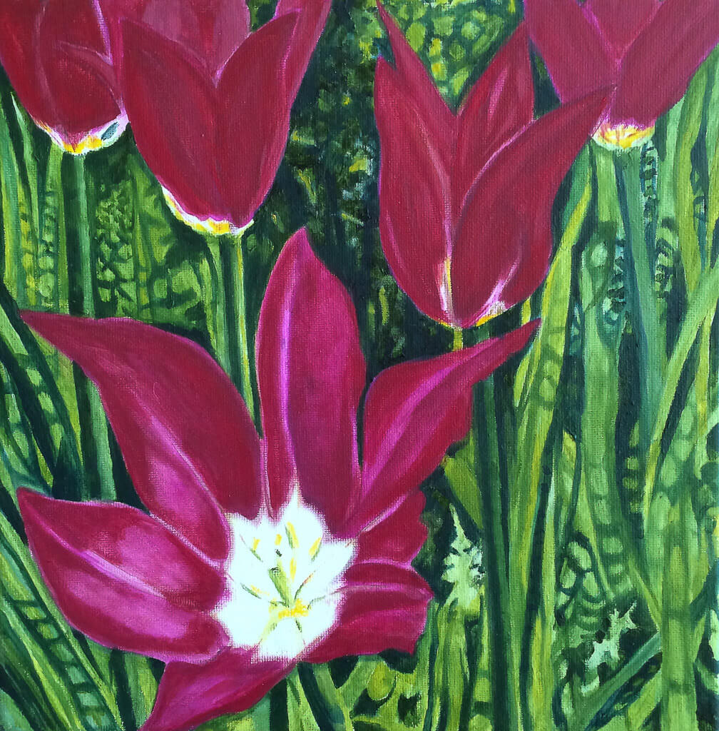 A painting of dark magenta tulips in full bloom, surrounded by a lush, vivid green garden backdrop