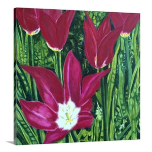 A side view of a painting of dark magenta tulips in full bloom, surrounded by a lush, vivid green garden backdrop