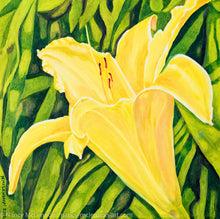 Load image into Gallery viewer, A painting, by fine artist Nancy McLennon, of a single yellow lily in a green garden