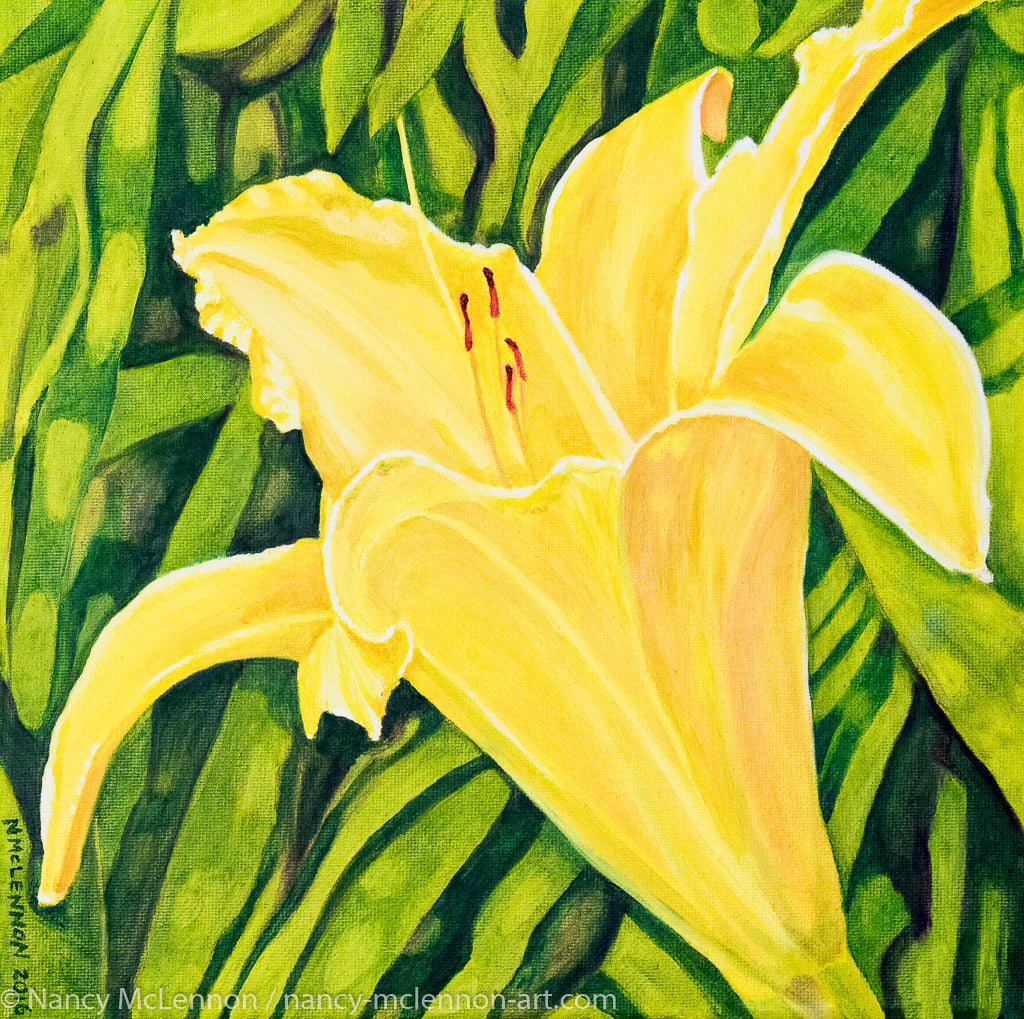 A painting, by fine artist Nancy McLennon, of a single yellow lily in a green garden