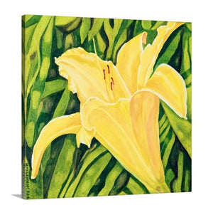 "Original Oil Painting - Yellow lily - 12""H x 12""W x 5/8""D"