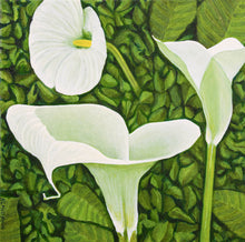 Load image into Gallery viewer, An oil  painting of a trio of calla lilies in a green garden background