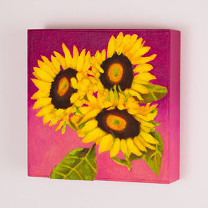 "Original Oil Painting  -  Trio of sunflowers and leaves on a fuschia pink background  -  6""H x 6""W x 1-1/2""D"