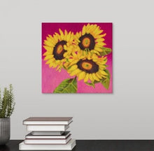 "Load image into Gallery viewer, Original Oil Painting  -  Trio of sunflowers and leaves on a fuschia pink background  -  6""H x 6""W x 1-1/2""D"