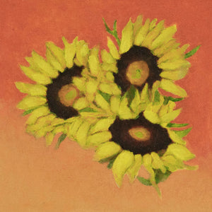 "Original Oil Painting  -  Trio of sunflowers and leaves on a tangerine orange  -  6""H x 6""W x 1-1/2""D"
