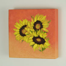 "Load image into Gallery viewer, Original Oil Painting  -  Trio of sunflowers and leaves on a tangerine orange  -  6""H x 6""W x 1-1/2""D"