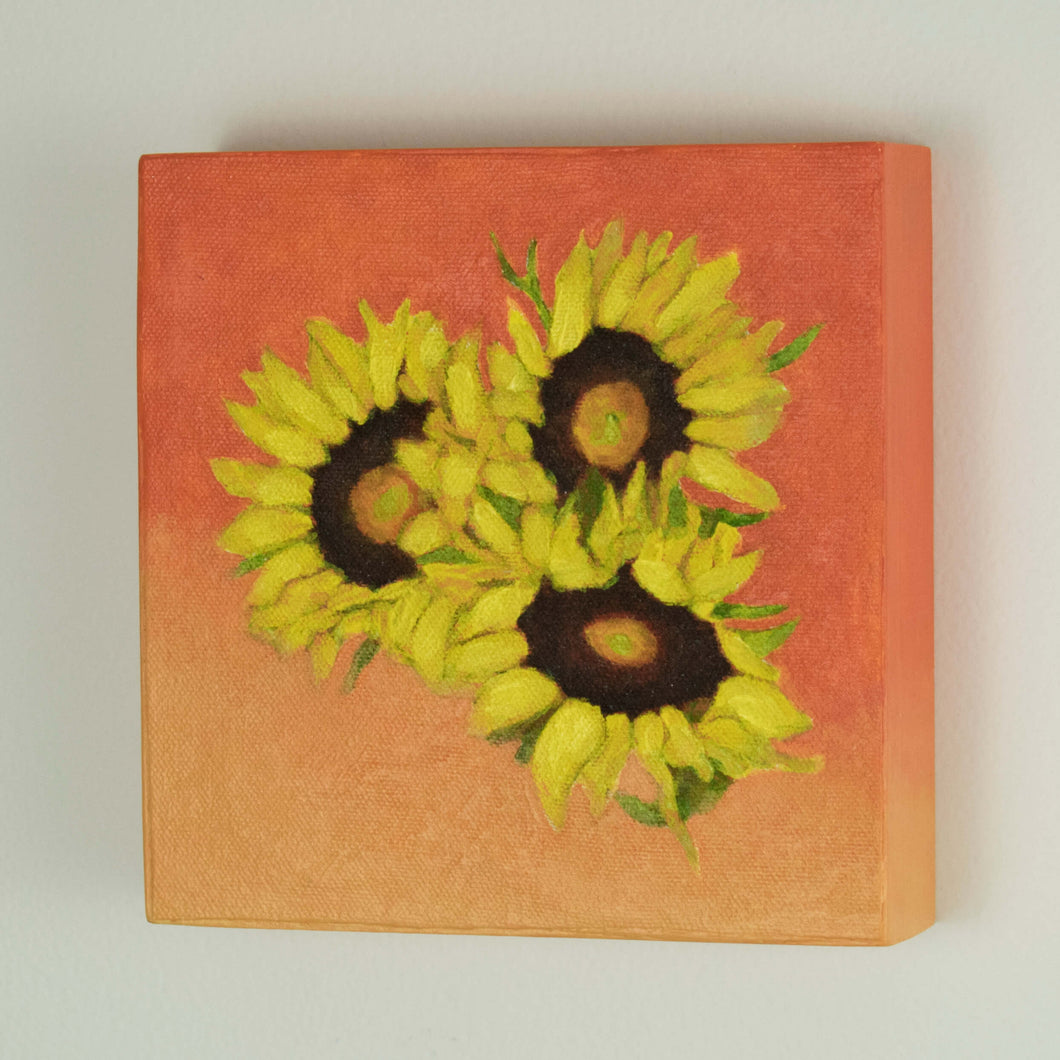 Original Oil Painting  -  Trio of sunflowers and leaves on a tangerine orange  -  6