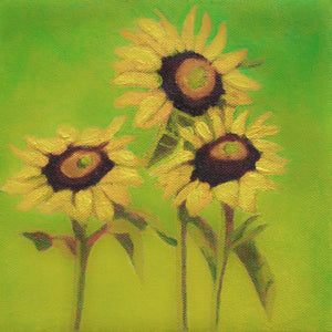 "Original Oil Painting  -  Trio of sunflowers and leaves on a warm green  -  6""H x 6""W x 1-1/2""D"