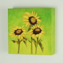 "Load image into Gallery viewer, Original Oil Painting  -  Trio of sunflowers and leaves on a warm green  -  6""H x 6""W x 1-1/2""D"