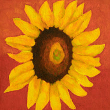 "Load image into Gallery viewer, Original Oil Painting  -  Single sunflower on a red background  -  6""H x 6""W x 1-1/2""D"
