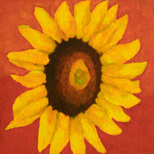 "Original Oil Painting  -  Single sunflower on a red background  -  6""H x 6""W x 1-1/2""D"