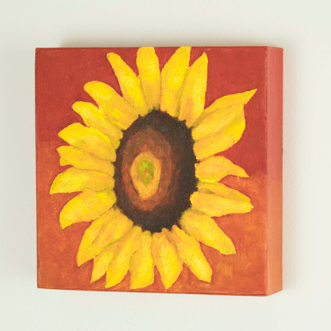 Original Oil Painting  -  Single sunflower on a red background  -  6