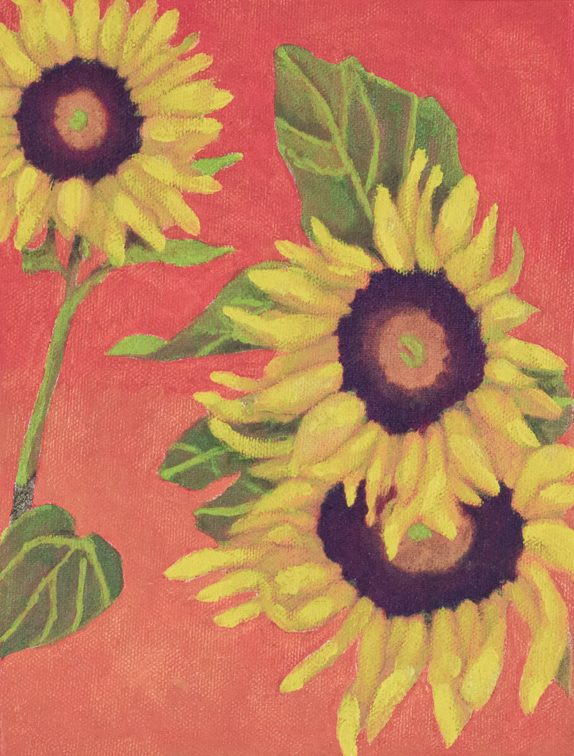 Original Oil Painting  -  Trio of sunflowers on a deep orange background  -  8