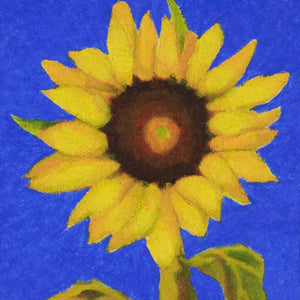 "Original Oil painting  -  Single sunflower on an ultramarine blue background  -  4""H x 4""W x 1-1/2""D"
