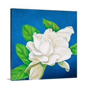 A side view of an original oil painting of a glowing white gardenia in full bloom, surrounded by a deep blue backdrop
