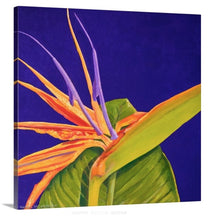 Load image into Gallery viewer, A side view of an original oil painting of a bright orange and purple 'Bird of paradise' bloom, surrounded by a deep, dark solid purple background
