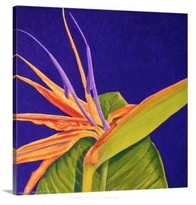 A side view of an original oil painting of a bright orange and purple 'Bird of paradise' bloom, surrounded by a deep, dark solid purple background