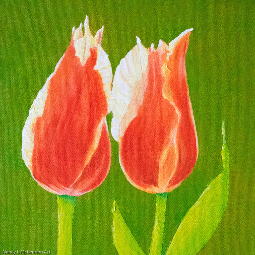 Original Oil Painting  -  Two tulips on green  -  12