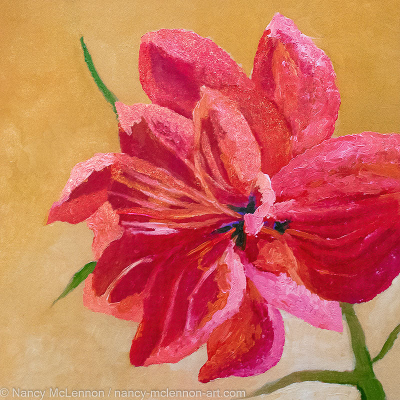 A painting by fine artist Nancy McLennon, of a single Red Barbados Amaryllis bloom on yellow ochre background