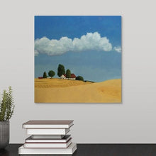 Load image into Gallery viewer, A painting of golden farm fields near Spokane, little red-roofed farmhouse, a clear blue sky with fluffy white clouds hanging over a black desk