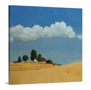 A side view of an oil painting of golden farm fields near Spokane, little red-roofed farmhouse, a clear blue sky with fluffy white clouds