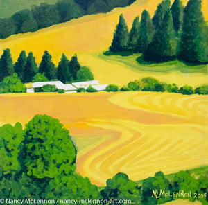 "Original Acrylic Painting - Washington State Farm fields in Summer - 11""H x 11""W x 2-5/8""D"