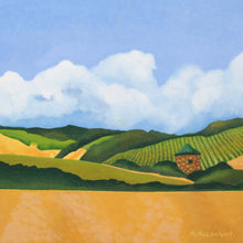 "Load image into Gallery viewer, Original Acrylic Painting - Napa Valley Vineyard with a copper roofed hut - 11""H x 11""W x 2-5/8""D"