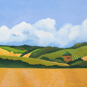 "Original Acrylic Painting - Napa Valley Vineyard with a copper roofed hut - 11""H x 11""W x 2-5/8""D"