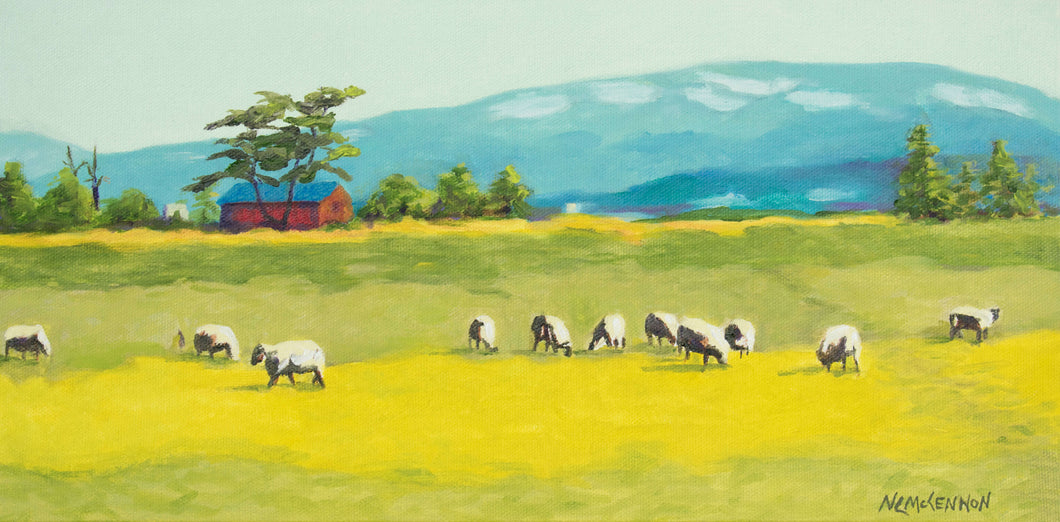Original Oil Painting - Oregon Sheep farm with a red barn - 8