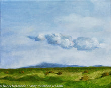 "Load image into Gallery viewer, Original Oil Painting - Sonoma farm flats with clouds - 8""H x 10""w x 5/8""D"