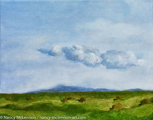 "Original Oil Painting - Sonoma farm flats with clouds - 8""H x 10""w x 5/8""D"