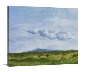 A side view of a painting of a green springtime pasture in a Sonoma, California with rolling hills, billowing distant clouds, blue sky, and many piles of unwrapped hay laying in the abundant grasses