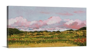 A side view of painting of rosy-hued April clouds over a Marin County, CA meadow, filled with golden paths, green grasses, and orange California poppies. Hazy blue hills are in the distance