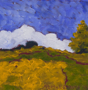 "Original Oil Painting - Sonoma farm with pine tree - 6""H x 6""W x 1-1/2""D"