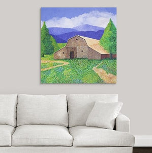 "Original Acrylic Painting  -  Michigan Barn  -  48""H x 48""W x 5/8""D"