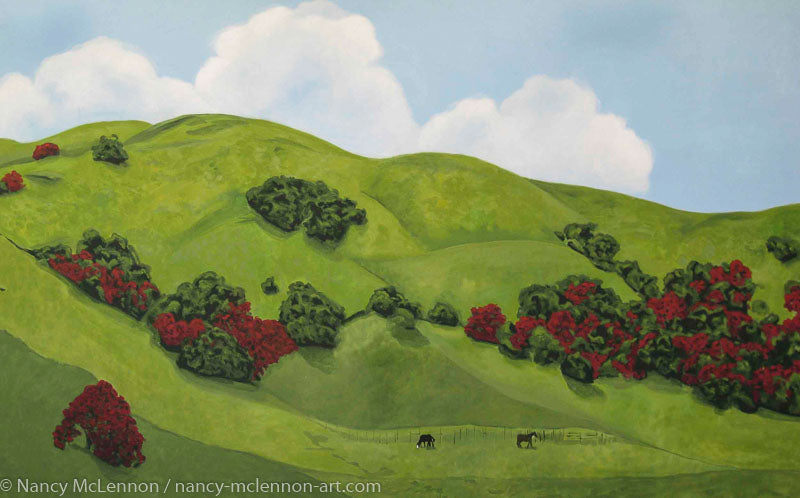 Original Oil Painting  -  Sonoma Hills in winter  -  44