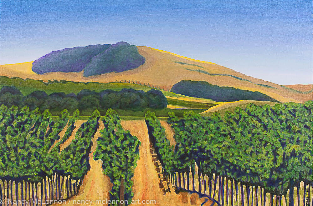A painting, by fine artist Nancy McLennon, of a lush purple and green vineyard with golden hills and clear blue sky
