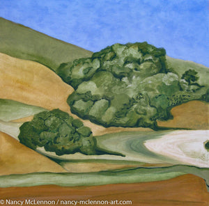 A landscape painting of golden and straw-colored hillside in Marin County, with rows of trees under a blue sky