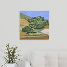 Load image into Gallery viewer, A landscape painting of golden and straw-colored hillside in Marin County, with rows of trees over a white couch
