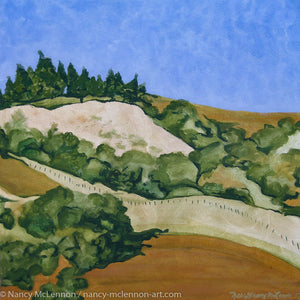 "Original Alkyd Painting  -  Marin hillside (Right side of a diptych)  -  21""H x 21""W x 5""D"