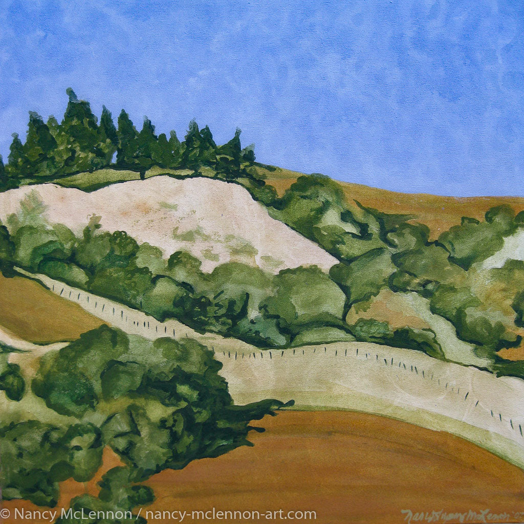 Original Alkyd Painting  -  Marin hillside (Right side of a diptych)  -  21