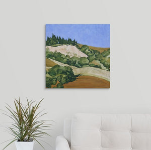 A landscape painting of golden and straw-colored hillside in Marin County, with rows of trees over a white couch